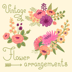 Vintage flowers. Cute flower for design