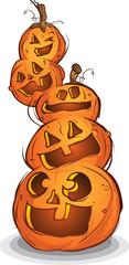 Pile of Carved Halloween Pumpkins Cartoon Characters