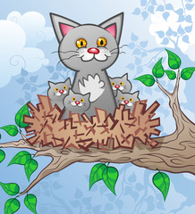 Cat and Kittens in a Nest up a Tree