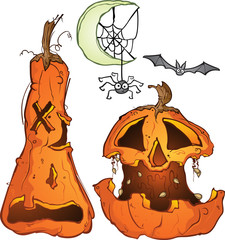 Jackolantern pumpkins with a bat and a spider on a crescent moon