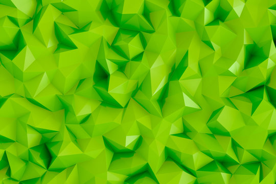Polygonal lime green 3d triangle geometric abstract background