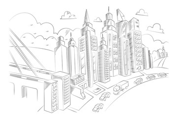 Hand drawing of city life