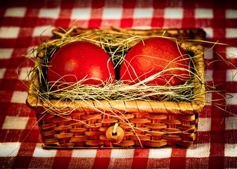 Easter  red eggs in retro style