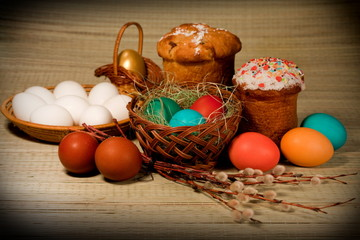 Easter food, Photo in retro style