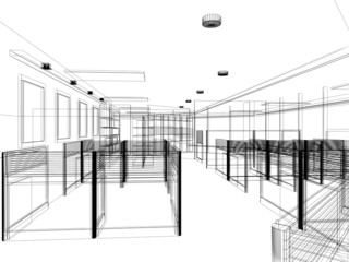sketch design of interior office, wire frame