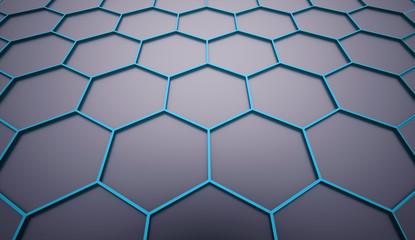 Blue hexagonal mesh on dark background