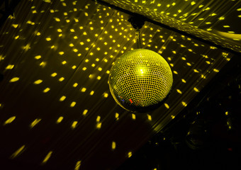 Colorful disco ball in a nightclub