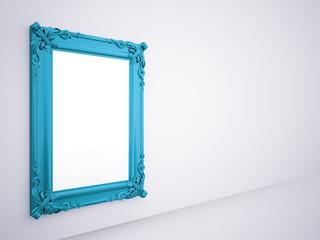 Blue mirror frame rendered