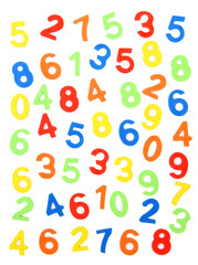 Colorful numbers, isolated on white