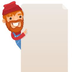 Lumberjack looking at blank poster