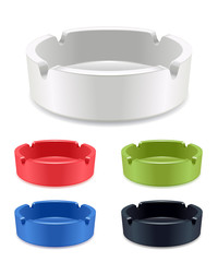 Set of isolated ashtrays - white, red, green, blue, black.