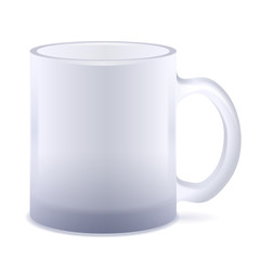 White frosted mug isolated. Empty cup.