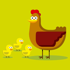 Group Of Cartoon Chicks And Hen With Color Background