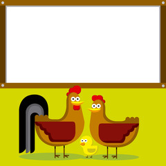 Cute Cartoon Rooster, Hen And Chick With White Space For Text