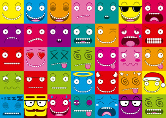 Vector Cartoon Set Of Thirty-five Different Faces