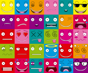 Vector Cartoon Set Of Thirty Different Faces