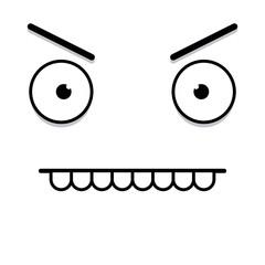 A Vector Cute Cartoon White Angry Face