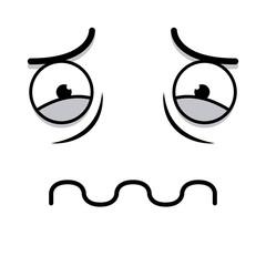 A Vector Cute Cartoon White Sick Face