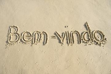 Brazil Bem-Vindo Welcome Message in Sand