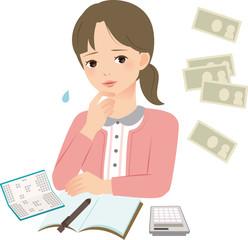 家計簿の前で悩む若い女性