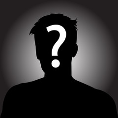 Silhouette of anonymous man with question mark