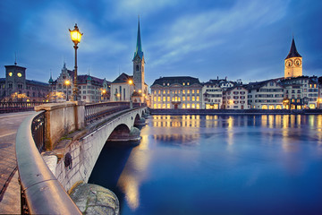 Photo on textile frame City on the water cityscape of night Zurich, Switzerland