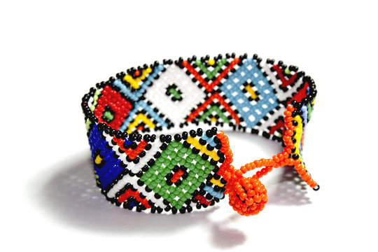Isolated Single Traditional Bright Beadwork Zulu Bracelet