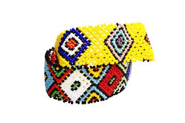 Two Zulu Beadwork Bracelets in Bright Colors