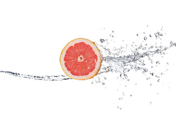 Wall Mural - Slice of grapefruit in water splash