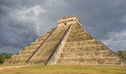Storm over  Kukulkan mayan pyramid in Chichen Itza