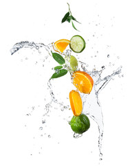 Wall Mural - Pieces of oranges and limes in water splash