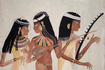 Seidenmalerei Ägyptische Musikanten