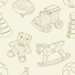 Retro toys seamless pattern