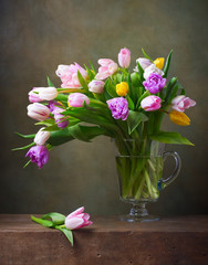 Still life with colorful tulips