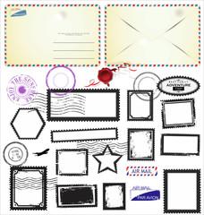 Set of post stamp symbols, vector illustration
