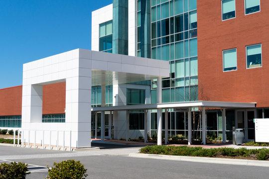 The modern medical building main entrance