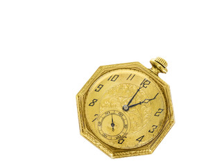 Vintage gold color pocket watch with second hand isolated.