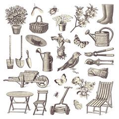collection of vintage garden design elements