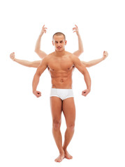 Attractive young man posing with many arms