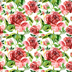 Red rose seamless pattern