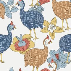 Guinea fowl seamless background