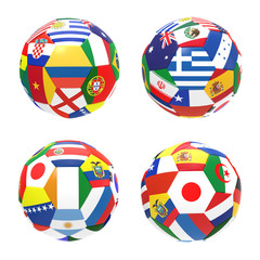 3D render of 4 soccer football group C on 2014 FIFA world cup