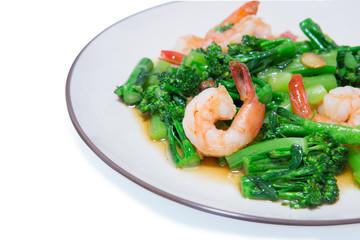 stir-fried broccoli and shrimp