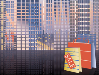 Shopping in city, vector illustration