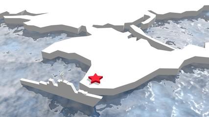 crimea map and russian war ship near sevastopol base