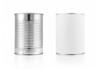 Close-up various metal and white tin can. Include clipping path