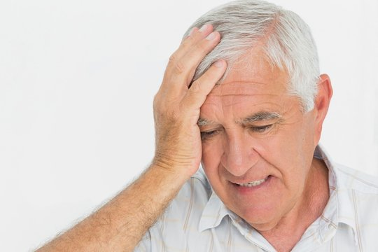 Close-up of a worried senior man