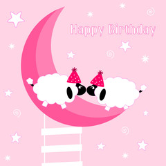 Sfondo d'auguri di buon compleanno con pecore sulla luna