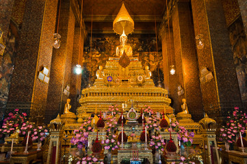 Buddha image in church of Wat Pho, Bangkok, Thailand