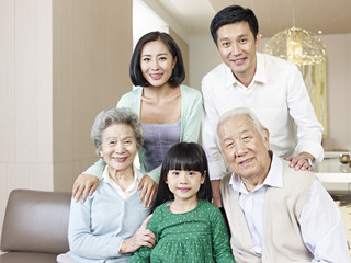 portrait three-generation asian family